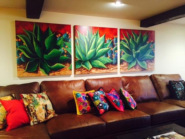 art in homes agave and prickly pear cactus