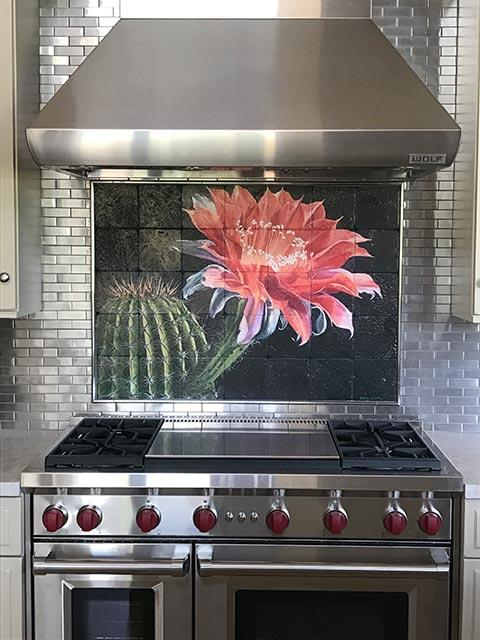 cactus with pink flower backsplash