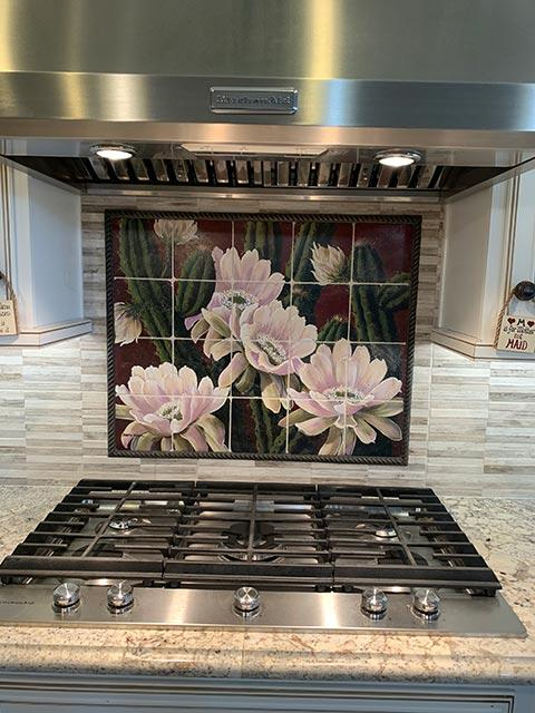 cactus with white flowers backsplash