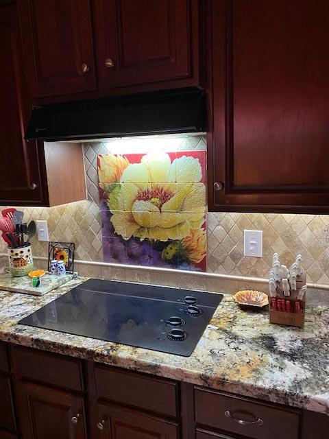 cactus with yellow flower backsplash