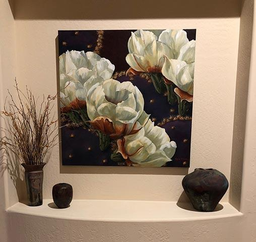 art in homes purple cactus with white flowers