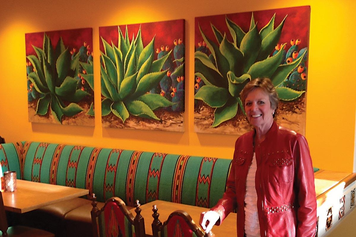 beth zink commission aloe and prickly pear cactus