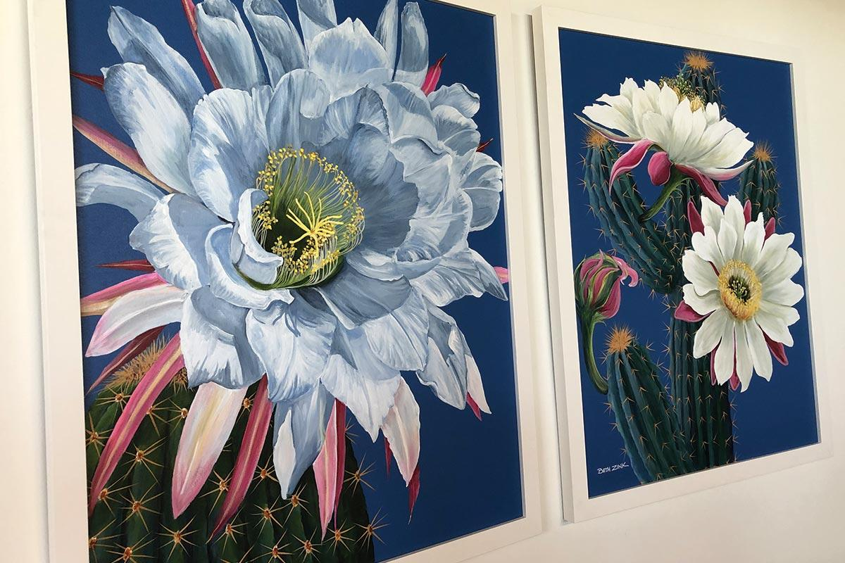 beth zink commissioned art cactus with pink and white flowers