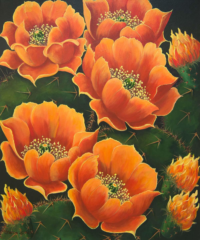beth zink painting cactus and orange flowers