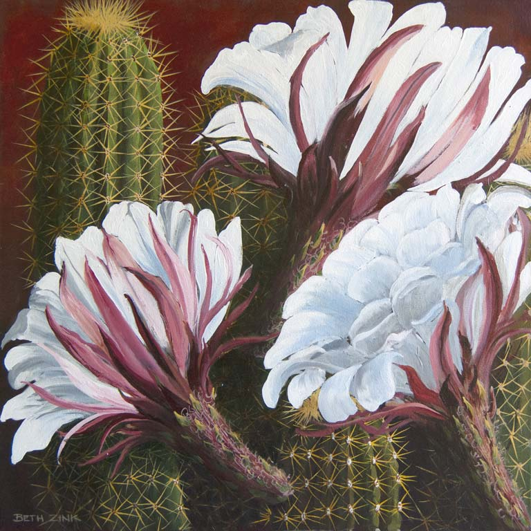 beth zink painting argentine giant with white flowers