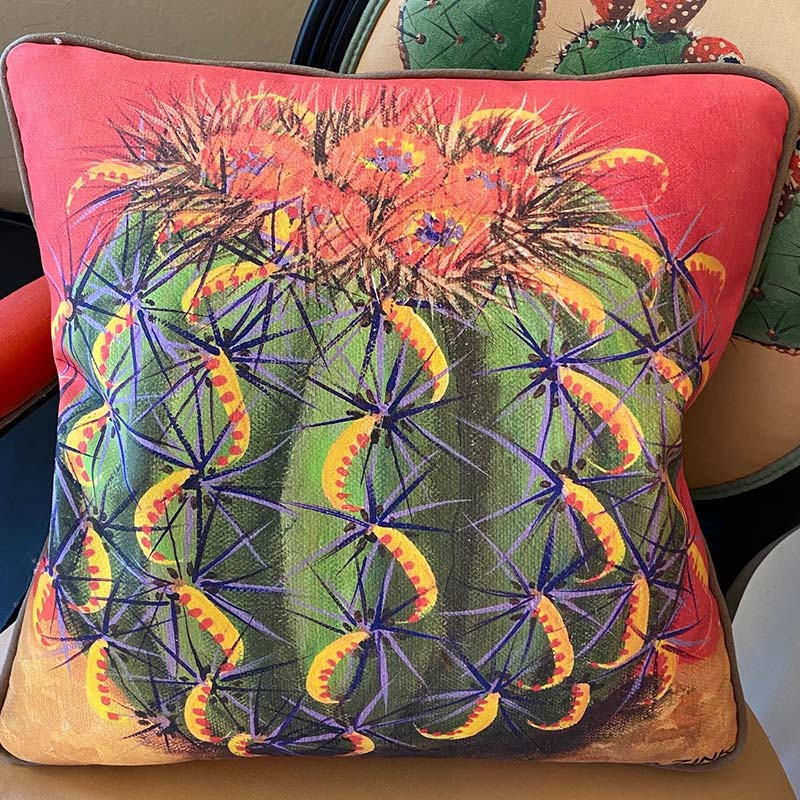 accent pillow with barrel cactus with purple needles