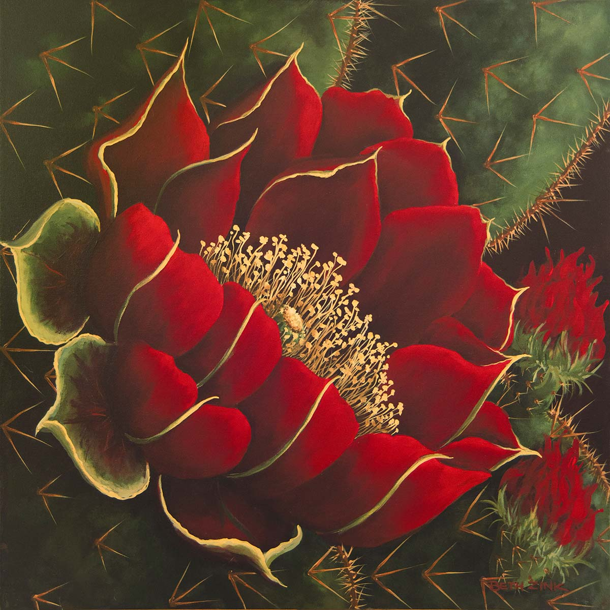 beth zink painting red flower and cactus