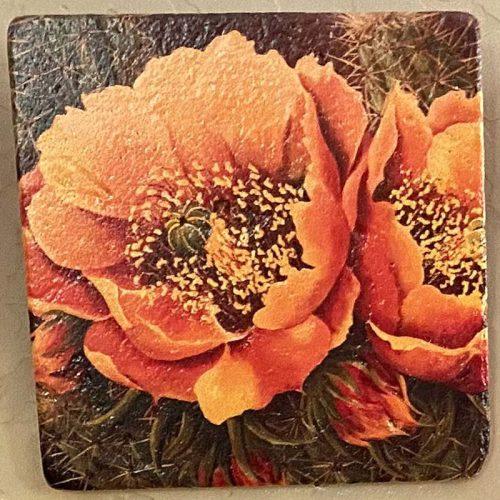 beth zink painted art tile with orange flower