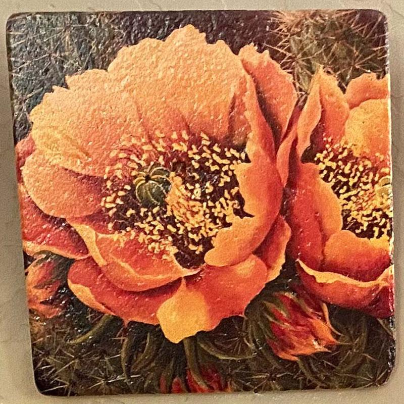 beth zink painted art tile with orange flower