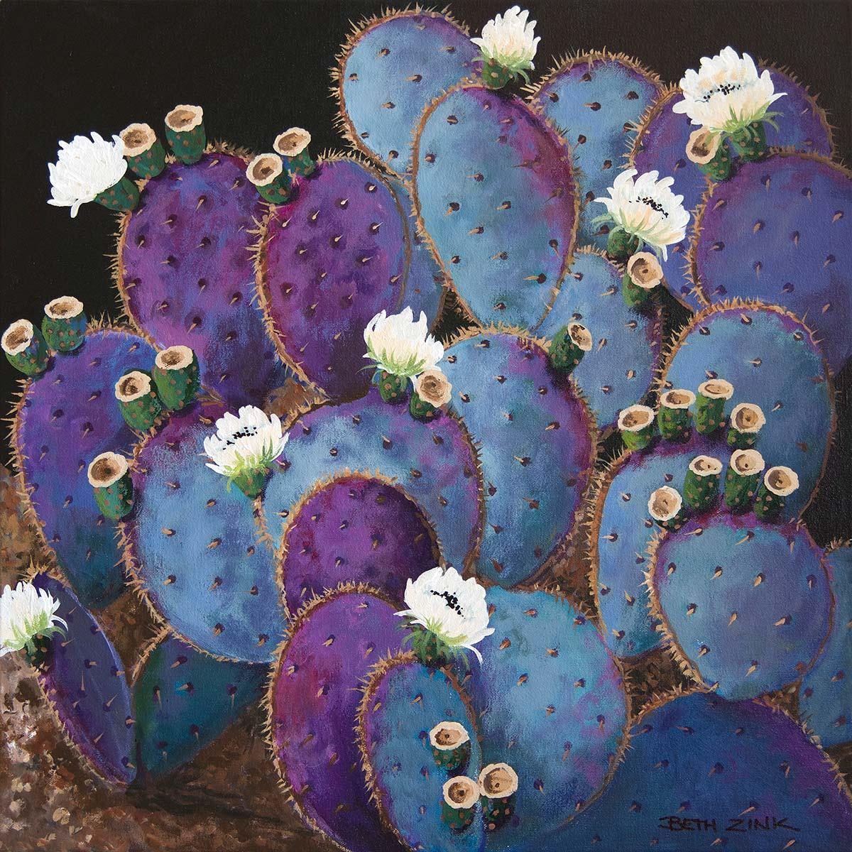 beth zink painting violet prickly pear cactus with blooming white flowers