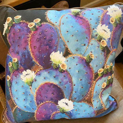 accent pillow with violet prickly pear cactus