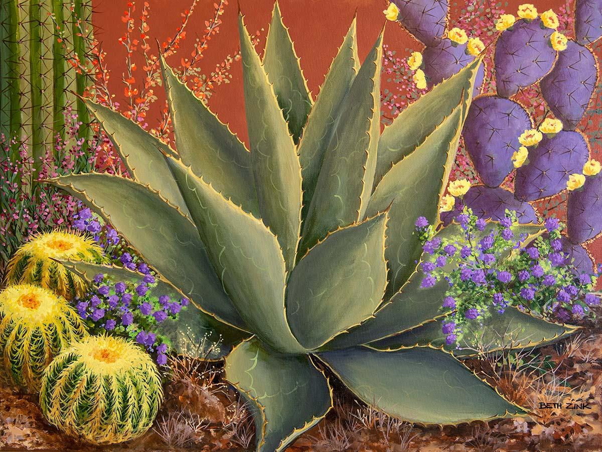 beth zink painting cactus garden with wildflowers