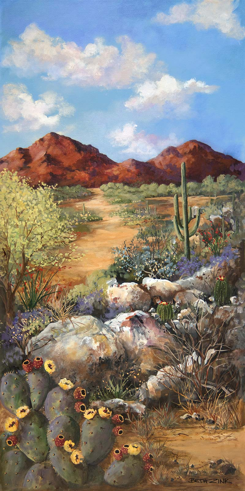 beth zink painting desert trail with mountains and cactus