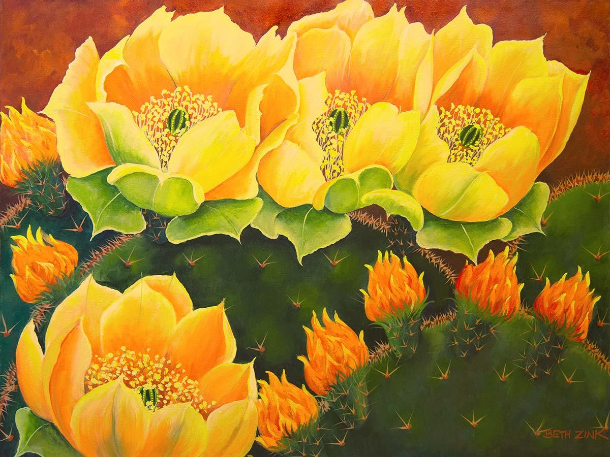 beth zink painting cactus with yellow flowers