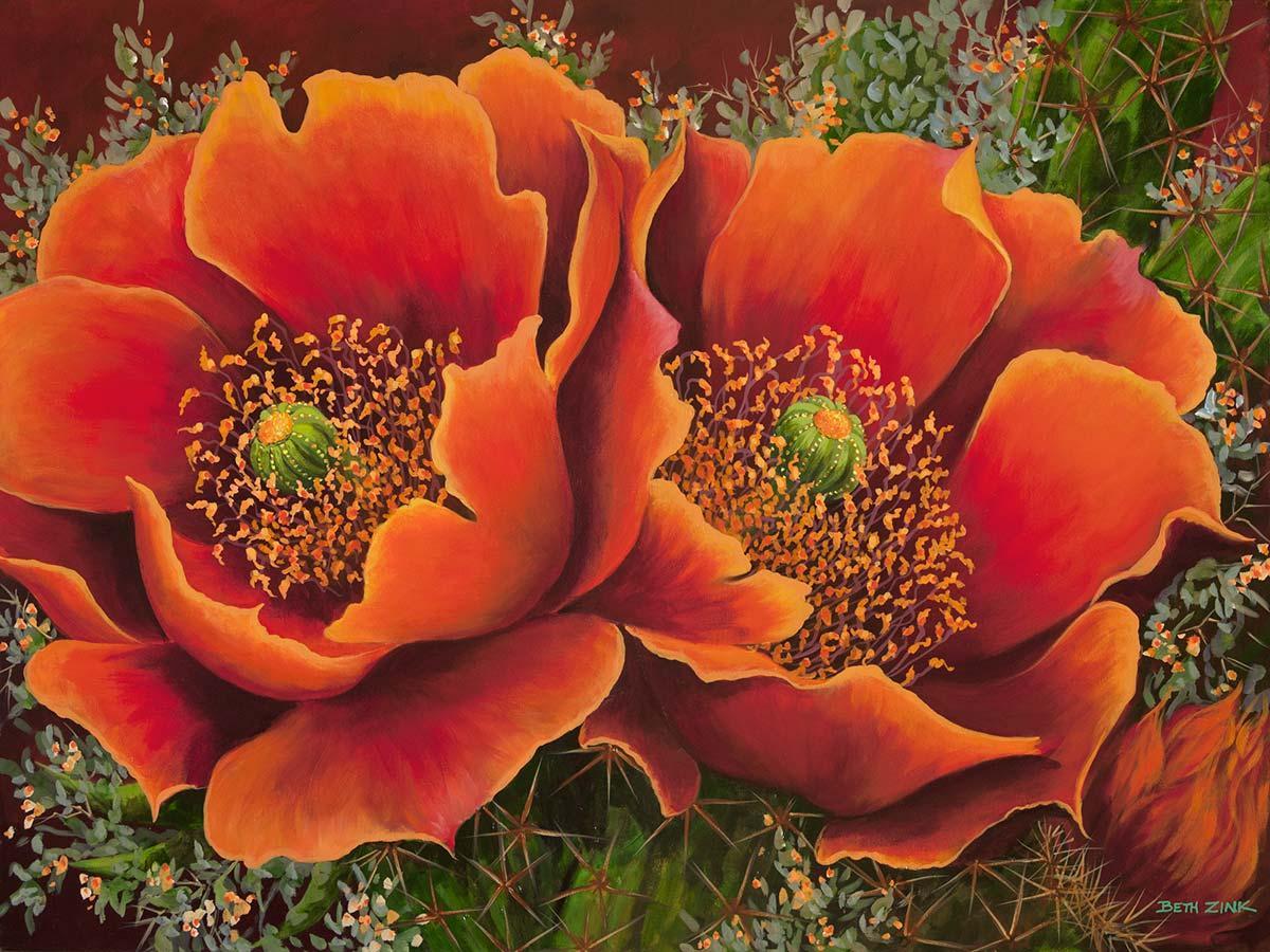 beth zink painting orange flowers