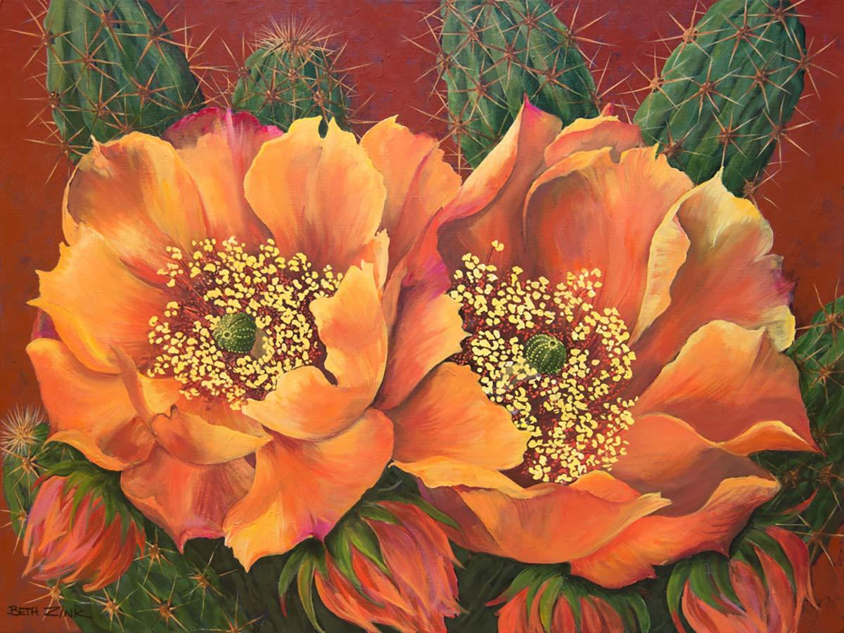 beth zink painting orange and yellow flowers