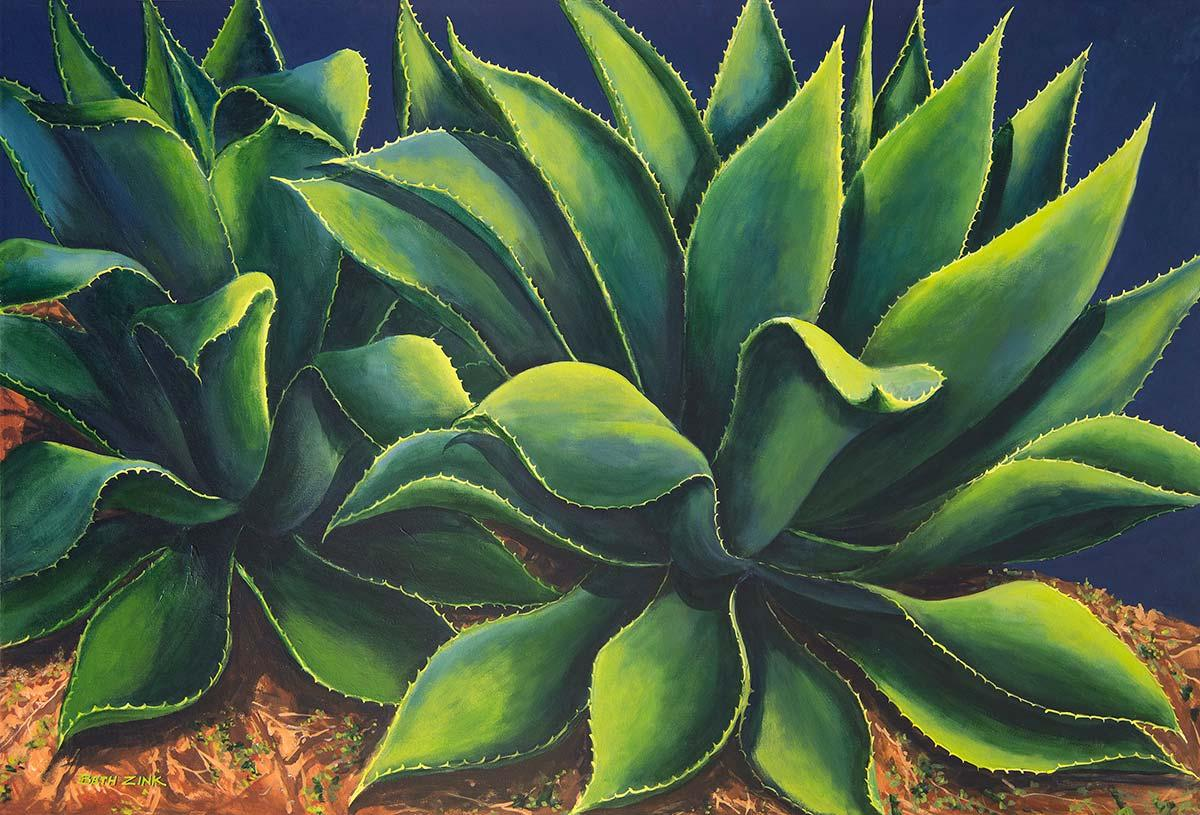 beth zink painting green agave plants