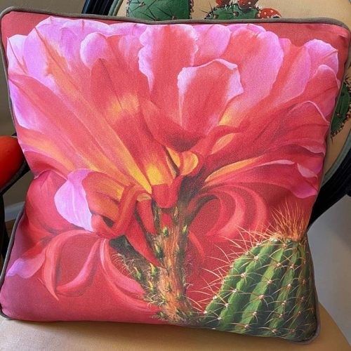 accent pillow with red flower and cactus barrel
