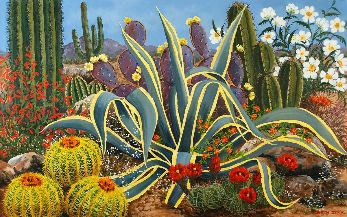 beth zink painting desert plants and flowers