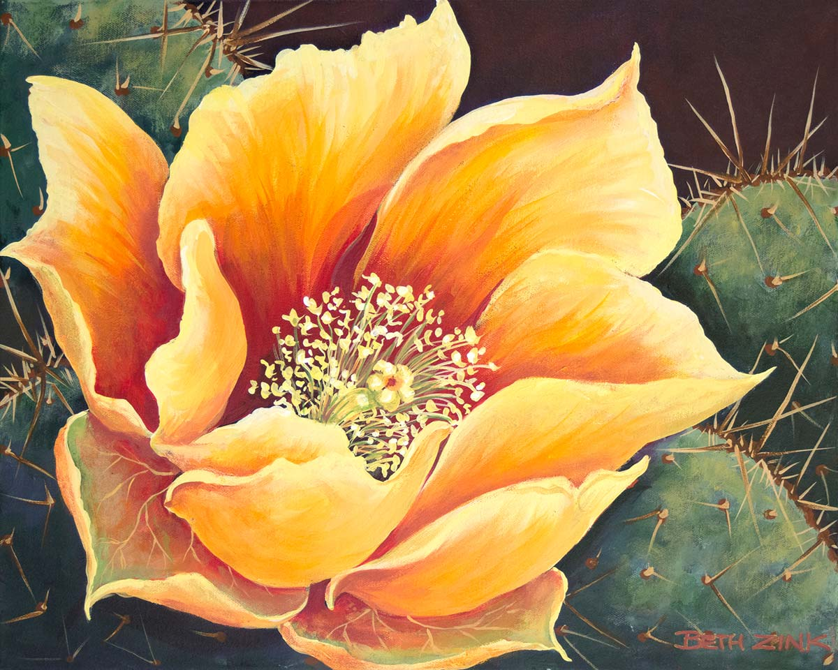 beth zink painting cactus with yellow flower