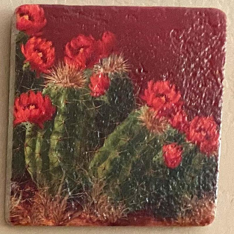 beth zink painted art tile with cactus and red flowers
