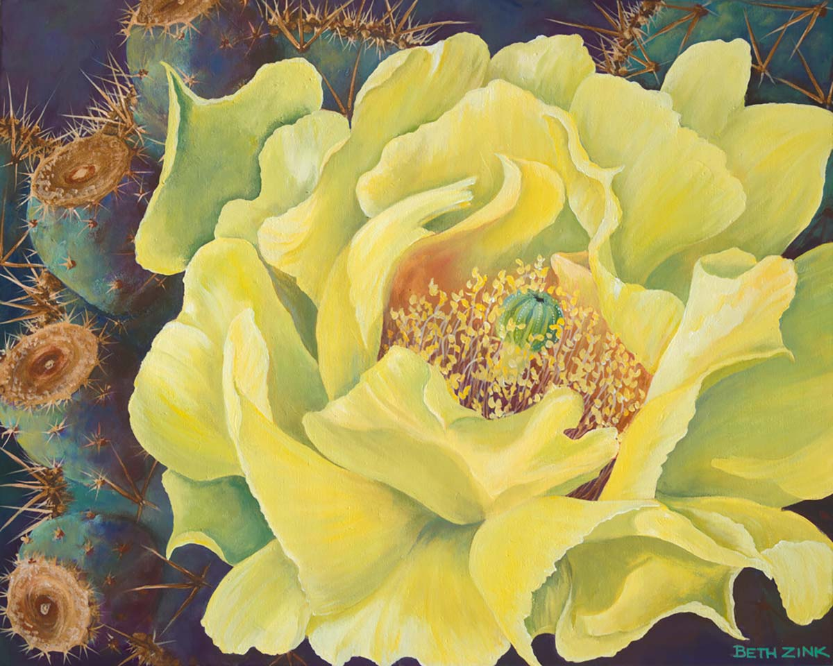 beth zink painting large yellow flower