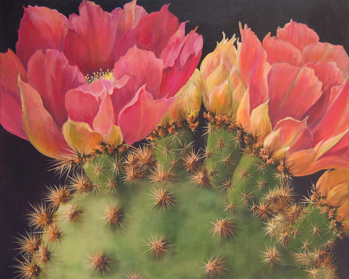 beth zink painting cactus pad with blooming flowers