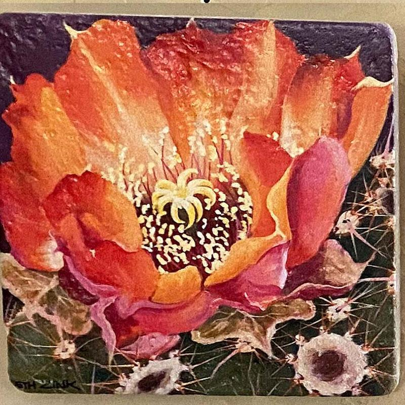 beth zink painted art tile with pink and orange flower