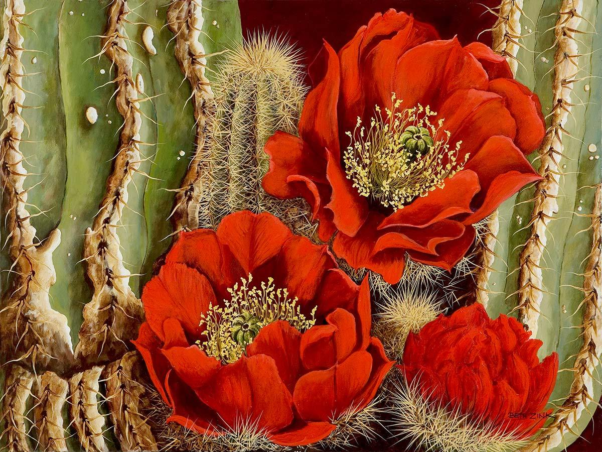 cactus with three red flowers blooming