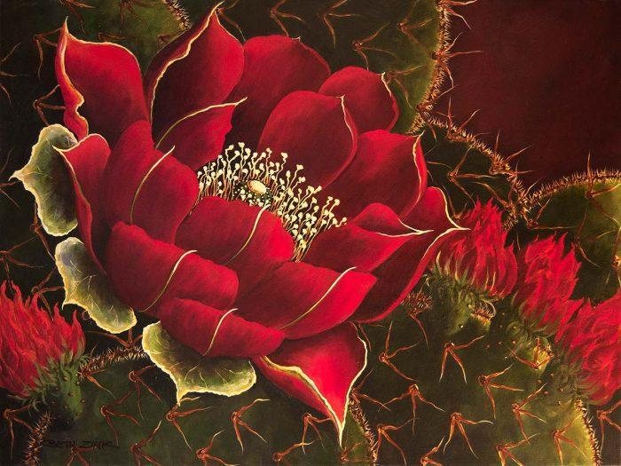 beth zink painting large red flower blooming out of cactus