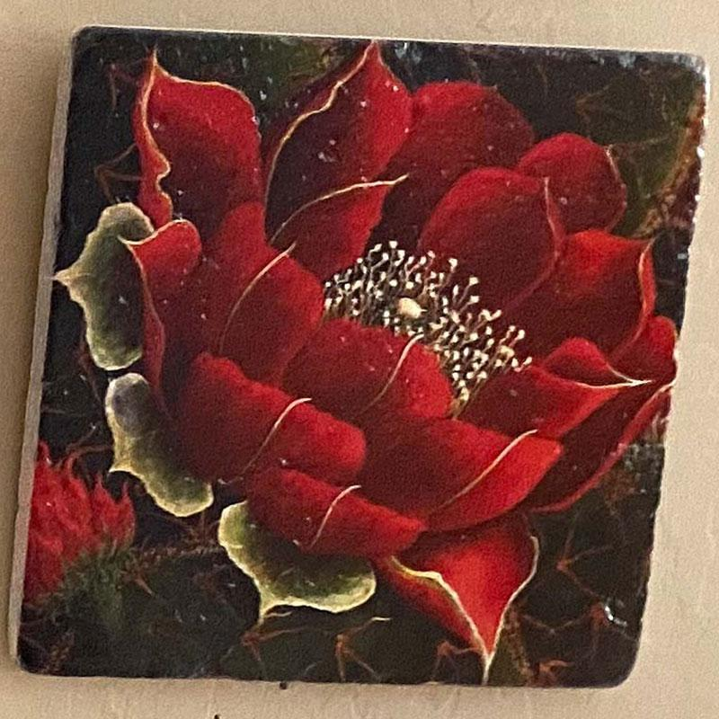 painted art tile with dark red flower