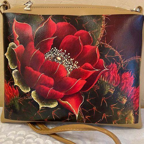 painted purse with cactus and red flower