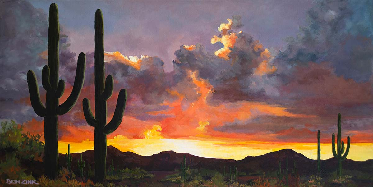beth zink painting arizona sunset with mountains and saguaro cactus