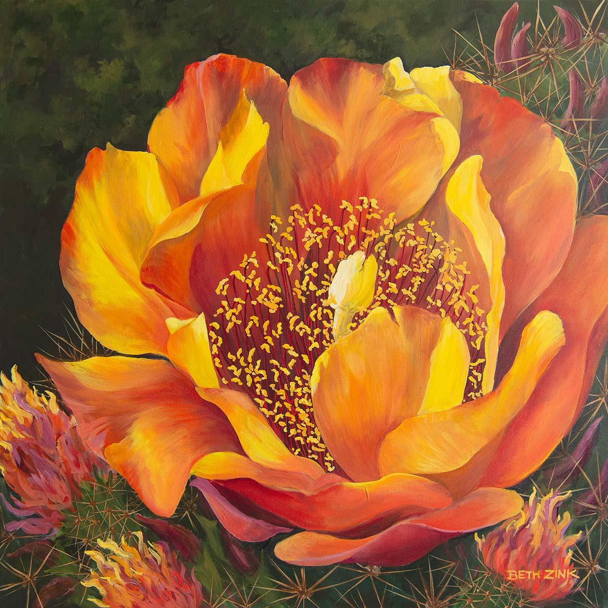 beth zink painting yellow and orange flower
