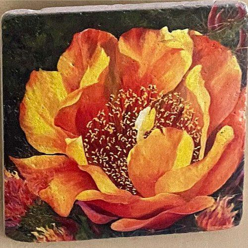 beth zink painted art tile with large yellow flower
