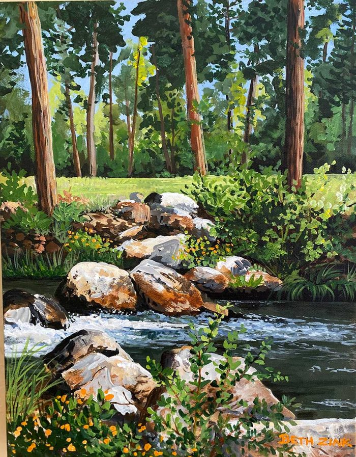 painting with rocks and creek and trees