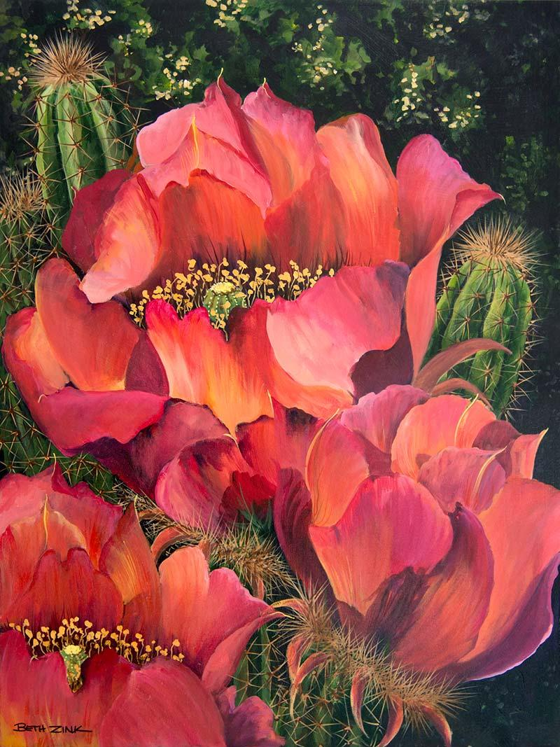 beth zink painting san pedro cactus with large pink flowers