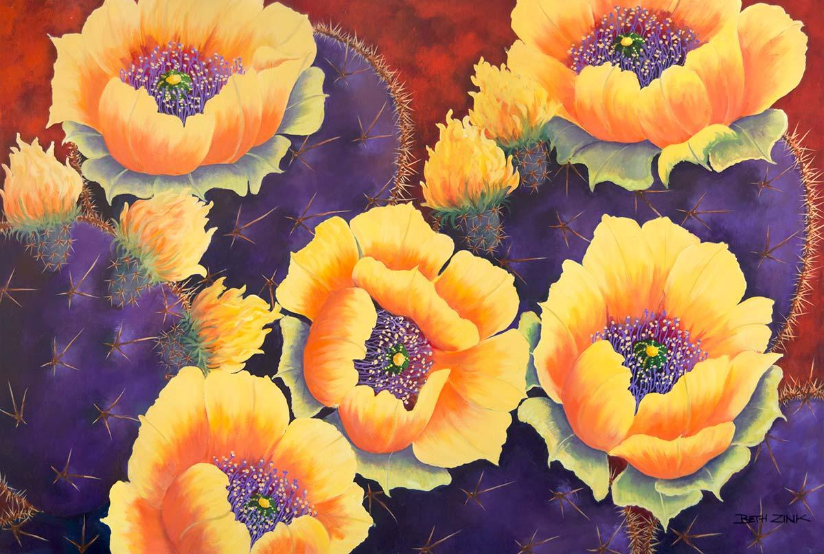 beth zink painting violet prickly pear cactus with yellow flowers