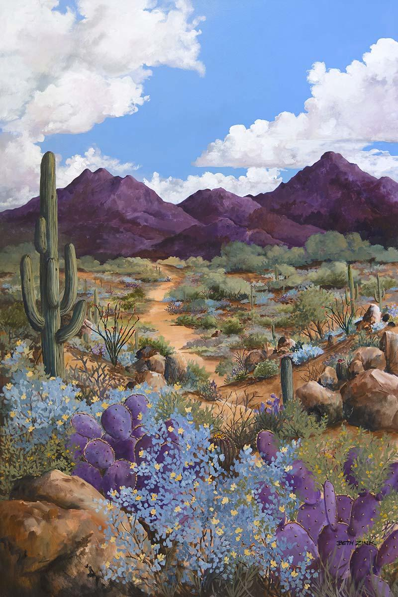 beth zink painting mountain with desert landscape and blue sky