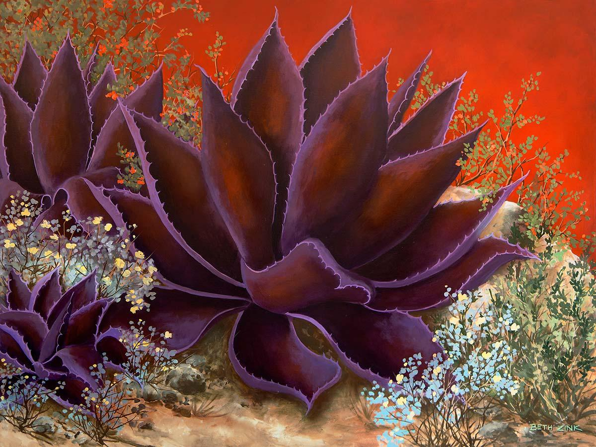 beth zink painting purple agave plant
