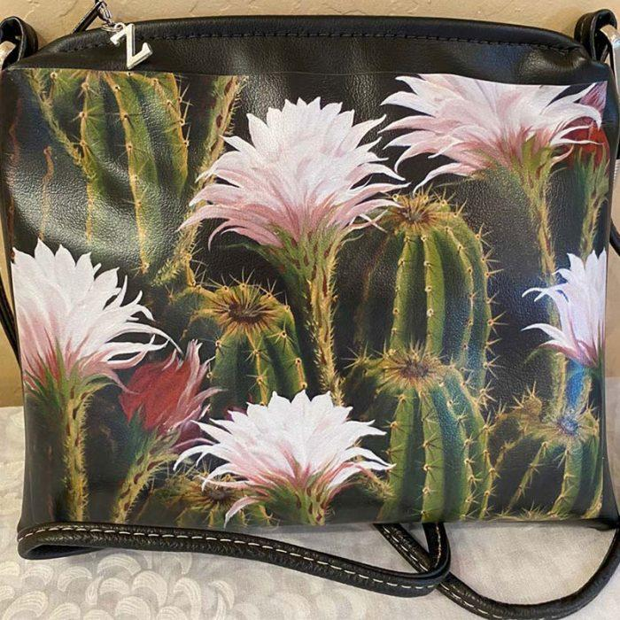 painted purse with cactus and pink and white flowers