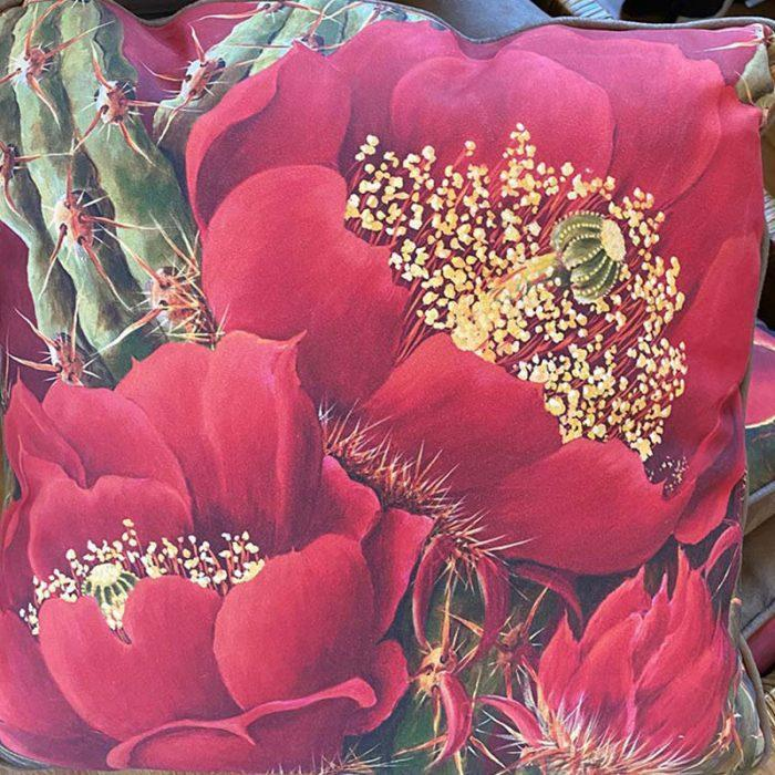 accent pillow with multiple red flowers
