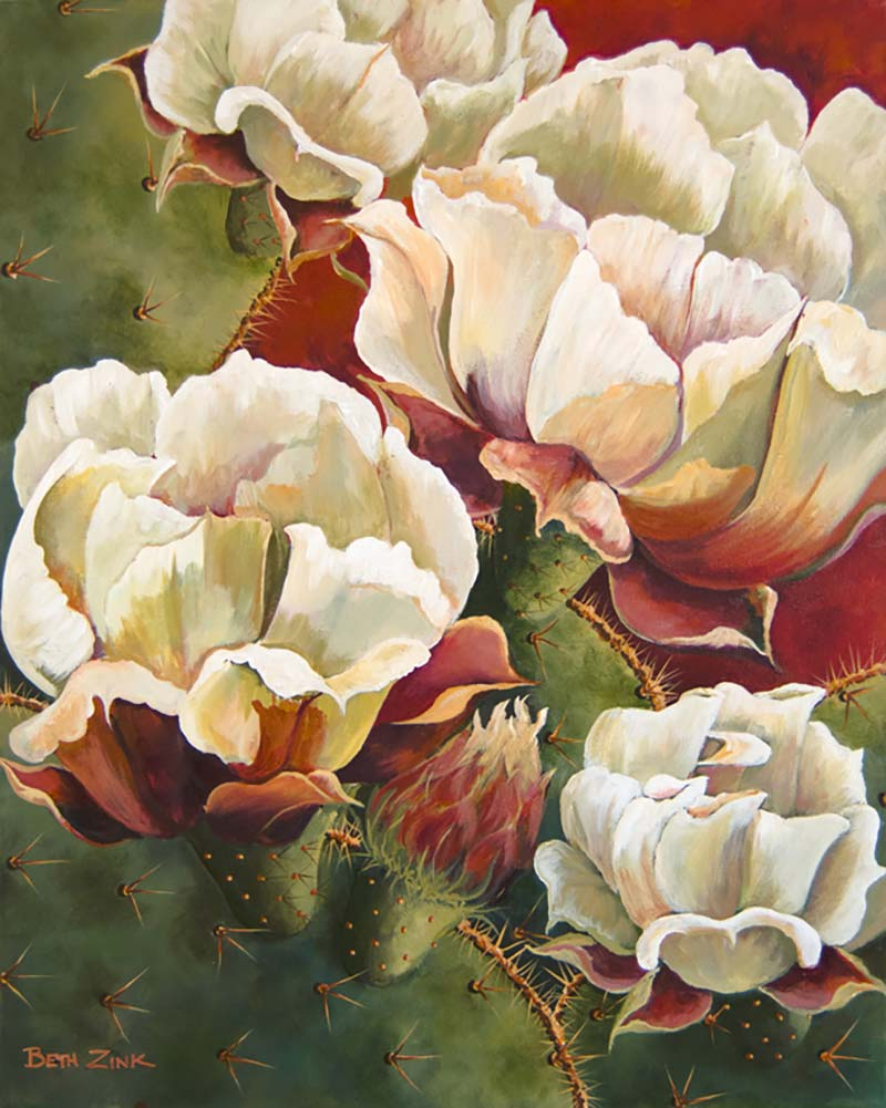 beth zink painting prickly pear cactus with white flowers