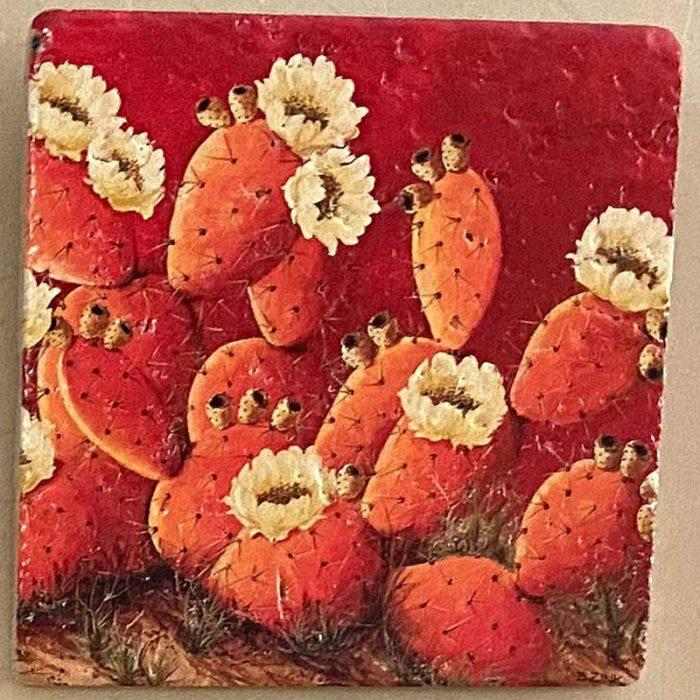 painted art tile with orange prickly pear cactus