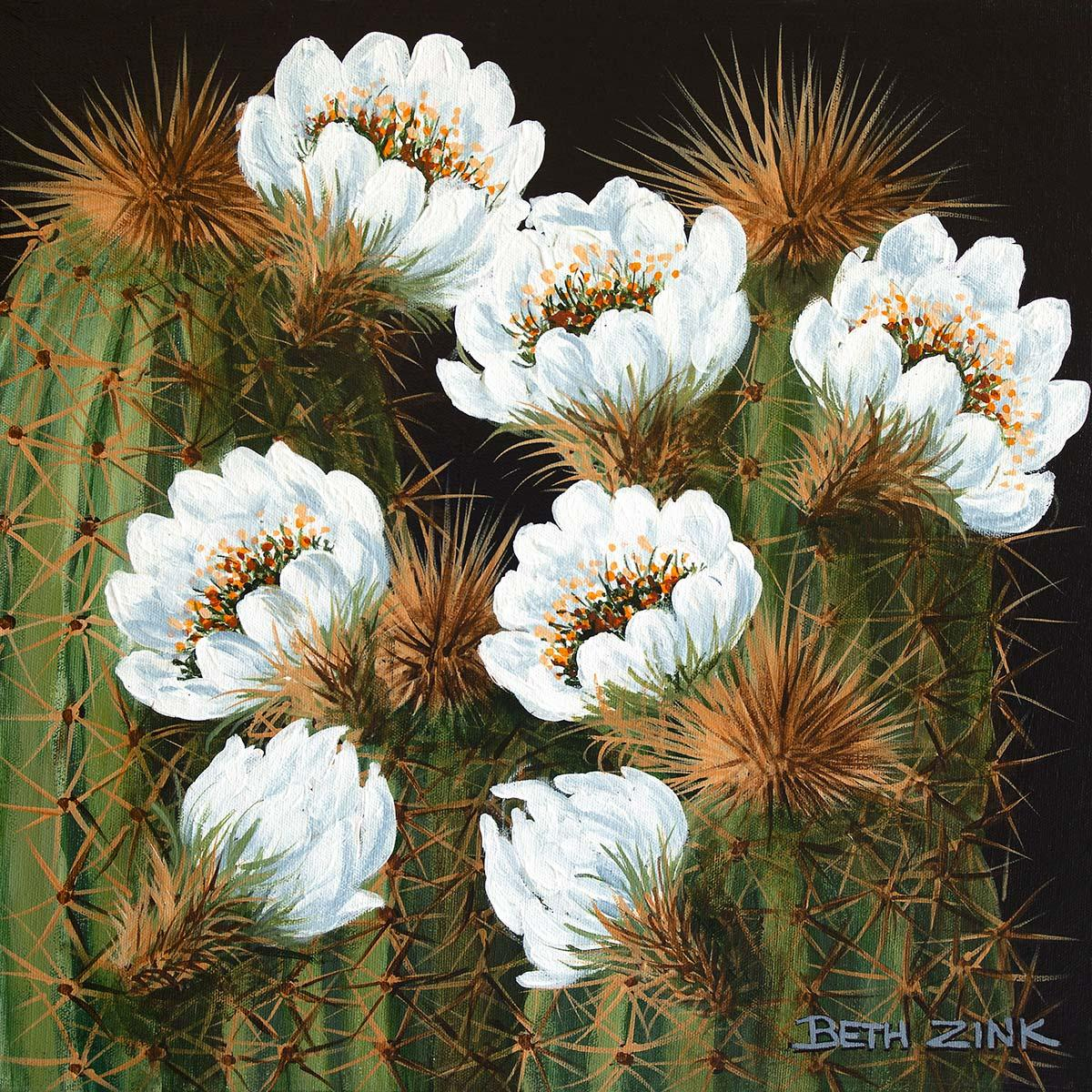 beth zink painting two cactus blooming white flowers
