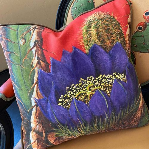 accent pillow with large purple flower