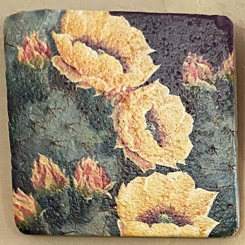 beth zink painted art tile with cactus and yellow flowers
