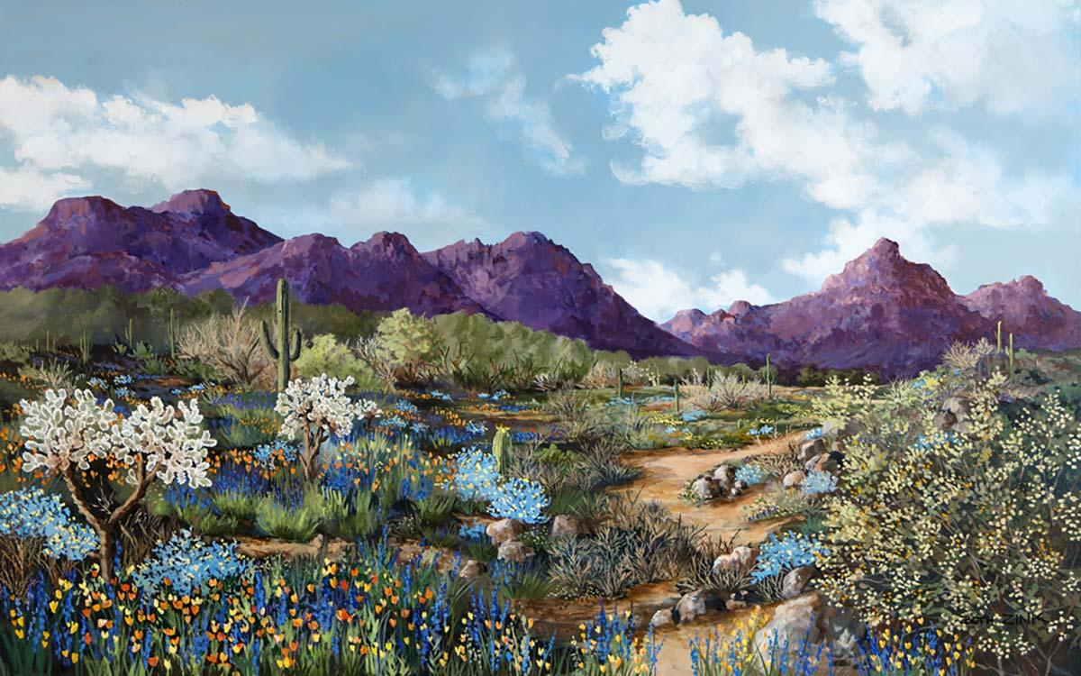 beth zink painting of mountains, a blue sky and desert landscape
