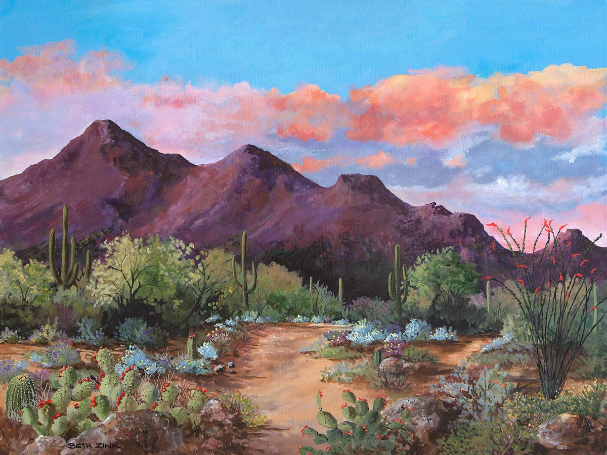 beth zink painting mountain with desert landscape