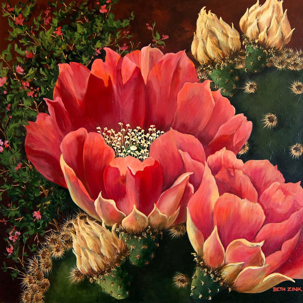 beth zink painting cactus with pink and white flowers
